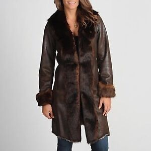 Women's 'NAUGE' Brown Faux Fur Trimmed Coat