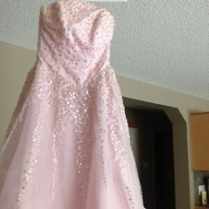 pink wedding gown with shawl -excellent cond.