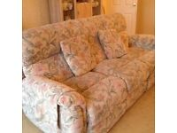 Electric reclining three seater fabric sofa