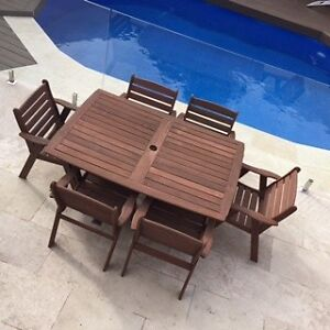 Outdoor dining setting, timber table and chairs. Doncaster East Manningham Area Preview