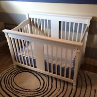 Convertible Crib with Mattress and Full Size Bed Frame Converter