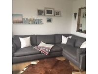 Wonderful Dark Grey corner sofa - loved but doesn't fit in our flat! 3m by 2m approx