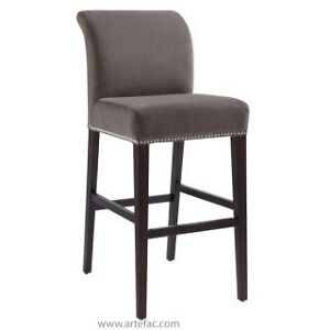Fabric Bar/Counter Stool in Grey