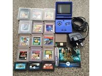 Game boy advanced SP in blue with 14 games