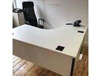 3 Curved white office desks