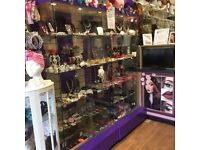 2 SHOP GLASS DISPLAY UNITS 6ft TALL x 3ft WIDE with 4 GLASS SHELFS IN EACH CABINET