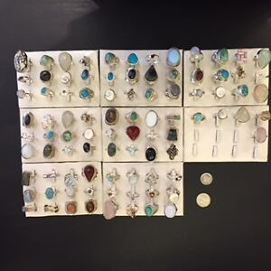 STERLING SILVER w/ GEMSTONE RINGS 78 pcs/$650( store closed )