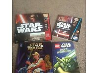 4 Star Wars books - one pop up with torch, one sound (working condition), a New Hope and one Lego.
