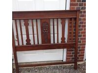 Carved mahogany double headboard and foot of bed. Beautiful craftsmanship. Excellent condition.