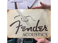 Tin Fender Promo Guitar Sign