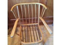Vintage Retro Light Elm 1960s Arm Chair Fireside Chair Ercol Original Fabric . Can deliver locally