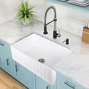 "White 30"" Single Basin Farmhouse Fireclay Kitchen Sink"
