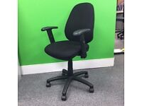 Black Typist Chair with Adjustable Arms