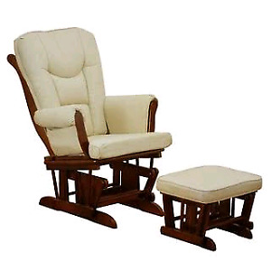 Wooden cushion covered Rocker chair with ottoman