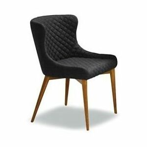 Charcoal Fabric Chair with Quilted Back