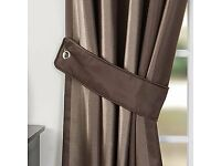 BRAND NEW HEAVY DUTY BROWN CURTAINS PATIO DOORS OR LONG LOUNGE OR BEDROOM