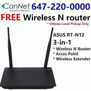 Free ASUS RT-N12 wireless N 3-in-1 Router with any CanNet or CIK cable internet plan, no contract, wired modem included