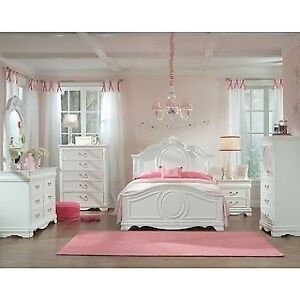 Set de chambre fille blanc- Lit double