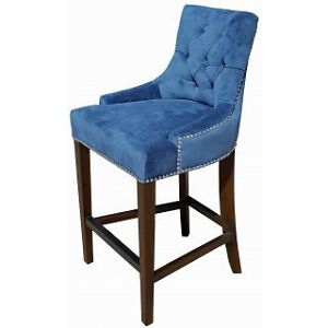 Blue Velvet Fabric Tufted Counter Stool w/Silver Nail Head Trim