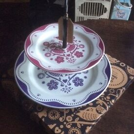 Enamel Folklore Cake Stand
