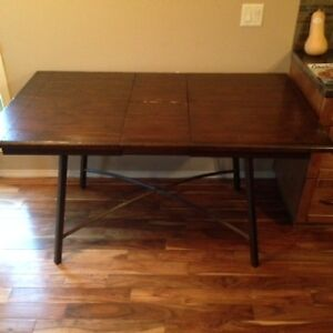 Wooden Kitchen Table with Wrought Iron Legs
