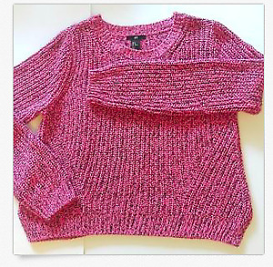 H&M Womens Sweater Coral Black Knitted Semi-Thick Crew Neck