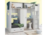 High sleeper with futon bed, desk and wardrobe