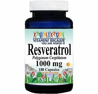 Vitamins Because Resveratrol 1000 mg 180 Capsules (Or 2x90)