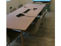 Solid Pastel Pink Boardroom/Meeting/office/Conference table seats 12/14