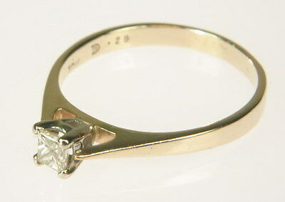 10K Yellow Gold 1/3 CT Princess Cut Diamond Solitaire Engagement Estate Ring