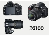 Nikon D3100 SLR Black with 18-55 lens **LIKE NEW**