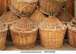 wine making equipment  54 L Demijohn / Dame-jeanne CLEAN wood wicker demijohns selling for $55 each. DAMIGIANA Demijohn