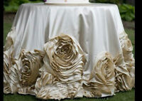 Custom-designed Wedding Table cloths, chair covers and MORE!