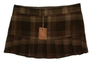 Plaid Wool-Like Mini Skirt - Size 13 - NEW