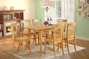 New Solid Wood Table---$292, Chair---$110, all solid wood dining