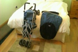 CHICO BABY BUGGY///AND AS NEW TRAVEL COT 30 POUNDS EACH ,,