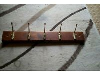 5 hook rack brassed hooks on stained pine with new fixings