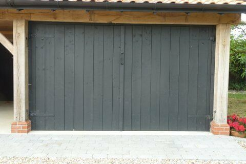 Heavy Duty Wooden Double Garage Doors With All Fittings In
