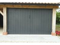 Heavy duty wooden double garage doors with all fittings.