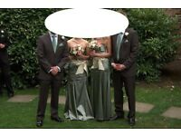 Three Coast sage green silk bridesmaid dresses with matching bag size 8