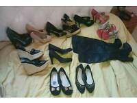Bundle of 12 heels, boots, sandals and flats size 4