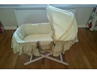 Moses basket, mattress and stand