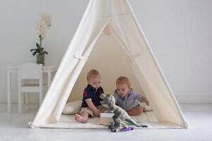 HANDMADE KIDS PLAY TENT IN NATURAL COTTON CANVAS