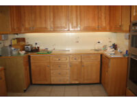 Price reduced - Kitchen, Solid Oak Doors, Cabinets, Neff Oven, Gas Hob, Dishwasher, Extractor, Sink