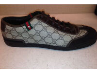 GUCCI leather and suedeTrainers in brown, Brand New. Size 9