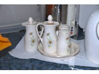 CONDIMENT SET FROM THE FAMOUS KERNEWEK POTTERY DAISY DESIGN RANGE. SALT, PEPPER ,OIL JUG AND TRAY