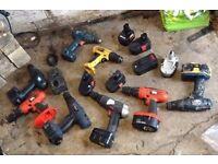 JOB LOT DRILLS AND BATTERYS makita drills and dewalt aswell sander