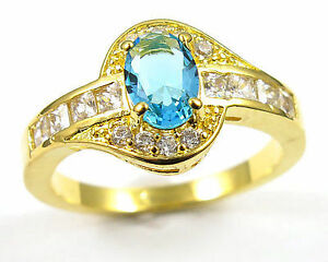 New Princess Cut 10kt yellow gold filled sapphire Ring size 6