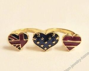 Uk Listing Moustache Beard/Skull/Heart Crystal/Flag/Floral Double Finger Ring