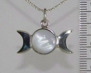 Silver TRIPLE MOON MOONSTONE Necklace Pendant